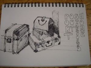 Sketch of suit cases at Sydney Maritime Museum