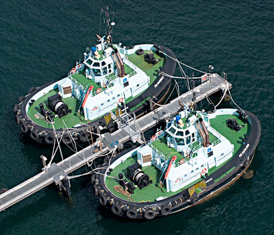 Two tugs at wharf